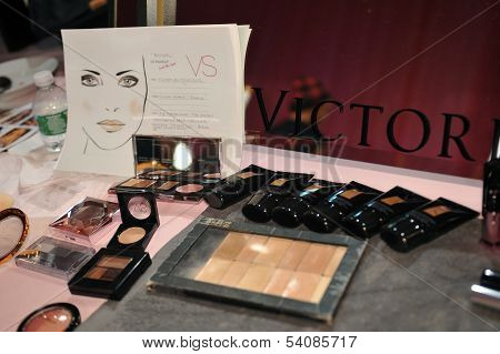 NEW YORK NY - NOVEMBER 13: A view of atmosphere and make-up kits backstage