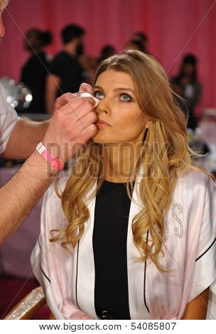 NEW YORK NY - NOVEMBER 13: Model Maryna Linchuk backstage at the 2013 Victoria's Secret Fashion Show