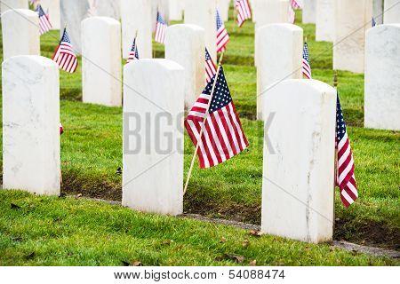 Military Veterans Headstones American Flags
