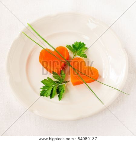 Romantic Low Calorie Dinner, Carrot Hearts