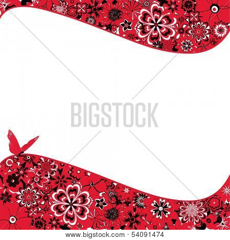 Abstract background with red flowers, a butterfly and space for text