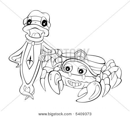 Cartoon Fish And Crab