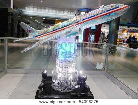 American Airlines plane model in JFK airport Terminal 8 in New York