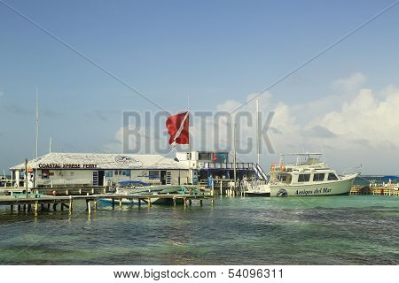Boats at the Amigos del Mar Dock in San Pedro, Belize