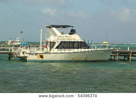 Belize Dive Connection boat in San Pedro, Belize