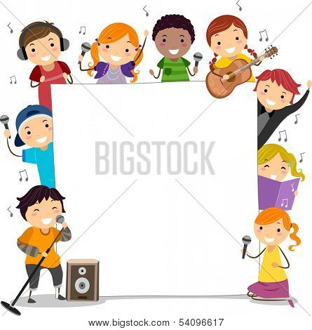 Illustration of Kids Holding Microphones Surrounding a Blank Board