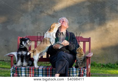Old man with his pets