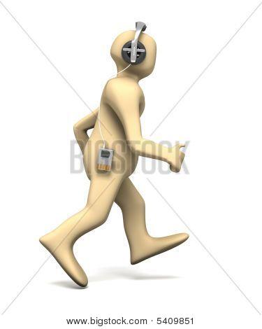 Running Man Listens To Music