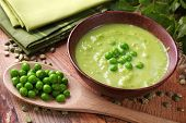 pic of green pea  - Green pea soup in bowl - JPG