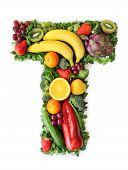 foto of letter t  - Fruit and vegetable alphabet  - JPG