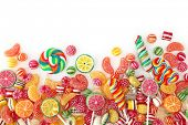 stock photo of lollipop  - Mixed colorful fruit bonbon close up - JPG