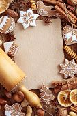 foto of christmas spices  - Blank note  for recipes of christmas cakes - JPG
