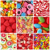 stock photo of lollipops  - Collage of photos with different sweets - JPG