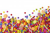 stock photo of lolli  - Mixed colorful sweets close up - JPG