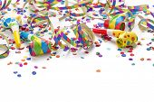 stock photo of confetti  - Party decoration isolated on white background - JPG