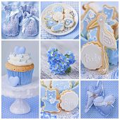 image of stork  - Collage with sweets and decoration for baby party - JPG