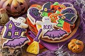 stock photo of tombstone  - Colorful cookies for halloween party - JPG