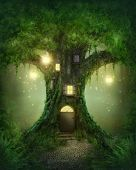 image of tree house  - Fantasy tree house in forest - JPG