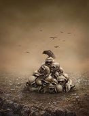 picture of raven  - Crow sitting on a pile of sculls - JPG