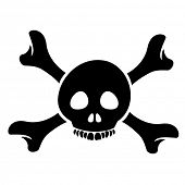 stock photo of skull crossbones flag  - Illustration of Skull and the Crossbones Cartoon isolated on a white background - JPG