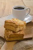picture of home-made bread  - home made warm square cheese scone and coffee - JPG
