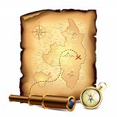 stock photo of treasure  - Pirates treasure map with spyglass and compass vector illustration - JPG
