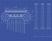 stock photo of ionic  - detail of ionic column with measures on technical background - JPG