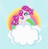 stock photo of pegasus  - Card with a cute unicorn rainbow in the clouds  - JPG