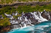 Hraunfossar is a very beautiful Icelandic waterfall in the west of the island. It comes from the lav