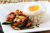 foto of gai  - fried basil chicken with fried egg and rice  - JPG