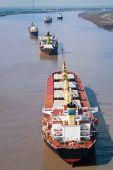 Cargo Ships On Mississippi River