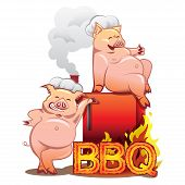 foto of smoker  - Two smiling pigs in chefs hats standing near the red smoker with burning letters BBQ - JPG