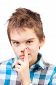 stock photo of snot  - Portrait of a boy picking his nose - JPG