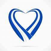 stock photo of israeli flag  - Abstract blue white blue heart ribbon flag - JPG