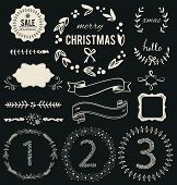 stock photo of laurel  - Christmas Hand Drawn Vector Set - JPG