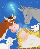 stock photo of birth  - Nativity scene showing birth of Jesus 