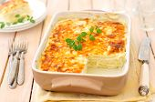 stock photo of lasagna  - Zucchini Lasagna in a Beige Roasting Pan - JPG