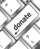 picture of soliciting  - donate button on computer keyboard pc key - JPG