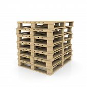 stock photo of wooden pallet  - Group wooden pallets - JPG