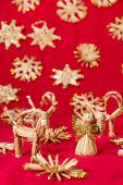 pic of winged-horse  - Angel wings falling snowflakes ornament decoration gold Christmas silver New year red background - JPG