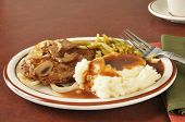 foto of hamburger-steak  - Salisbury steak with mashed potatoes and green beans - JPG