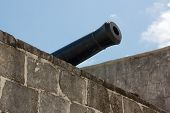 picture of artillery  - Barrel of a historic artillery piece at Fort Montagu Nassau Bahamas - JPG