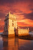 Belem Tower on a sunset Lisbon Portugal
