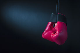 picture of knockout  - Red boxing gloves on a dark background - JPG