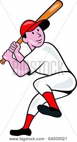 Baseball Player Batting Leg Up Cartoon