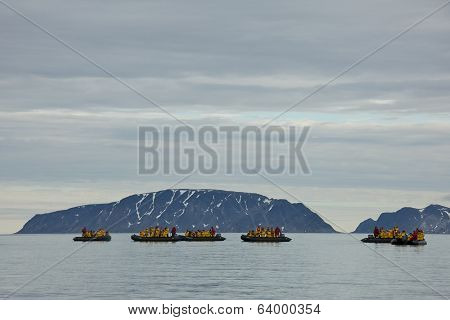 Svalbard, Norway - July 2013: Cruising along Fuglesongen in Svalbard