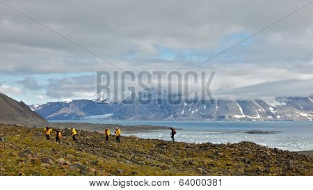 Svalbard, Norway - July 2013: Hiking in Hornsund, Svalbard