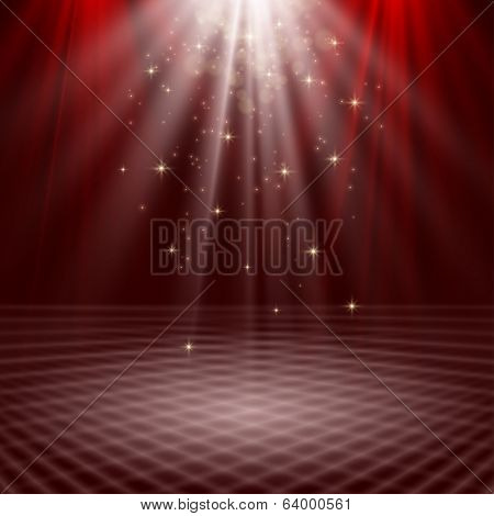 Empty stage lit with lights on red background
