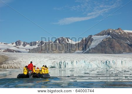 Svalbard, Norway - July 2013: Exploring July 14th Glacier in Svalbard