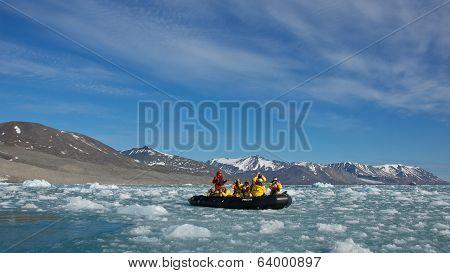 Svalbard, Norway - July 2013: Cruising along Monaco Glacier in Svalbard